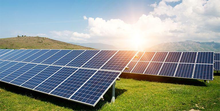 Solar Panels Mtns Sun